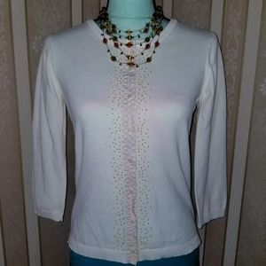 3/$10 Cream Cardigan Sweater w/ Beads Design Small